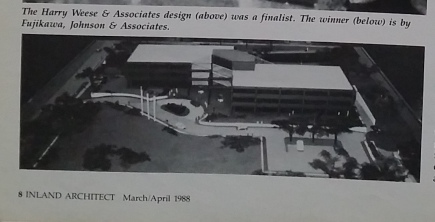 Mel's winning design as it appeared in Inland Architect, 1988