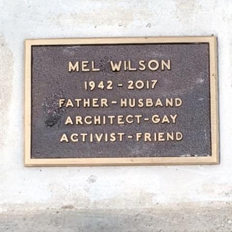 Mel's plaque in Scoville Pk